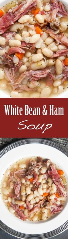 White Bean and Ham Soup ~ Hearty white bean and ham soup, perfect for cold winter days! White beans, ham shanks, onions, celery, carrots, garlic, Tabasco, and herbs. ~ SimplyRecipes.com by daphne