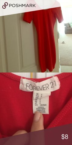 Red cotton dress Forever 21 red cotton dress; excellent condition Forever 21 Dresses Mini