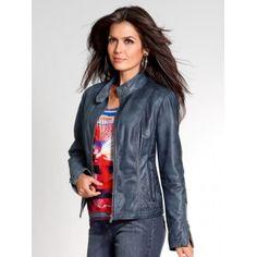 Ik vond dit op Beslist.nl: Signora M Leren jas, grijs, blauw