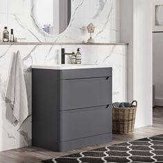 Easy Bathrooms Ellis Floor Standing 800mm Vanity Unit in Charcoal   Charcoal grey vanity unit
