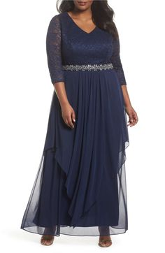 Main Image - Alex Evenings Embellished Lace & Tiered Chiffon Gown (Plus Size)