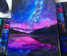 Galaxy Painting By _ Galaxie-Malerei von _ Galaxy Painting, Galaxy Art, Watercolor Galaxy, Watercolor Mandala, Art Galaxie, Wow Art, Cool Drawings, Galaxy Drawings, Drawing Sketches