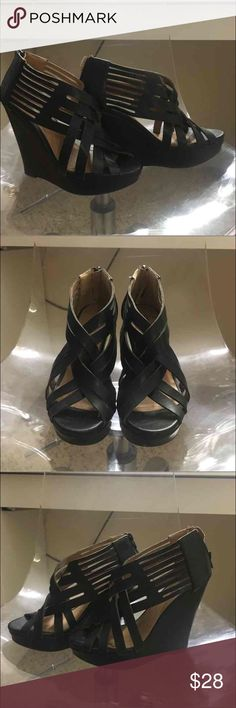 Charlotte Russe Black Wedges Used once. Size 8. Charlotte Russe Shoes Wedges