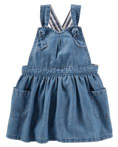 Baby Girl Chambray Pinafore Dress | OshKosh.com