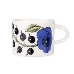 Arabia's Paratiisi, Finnish for paradise, was designed by Birger Kaipiainen, the award-winning Finnish ceramic artist. The tableware features a simple and beautiful shape complemented by a rich design of fruits, violets and black currants.