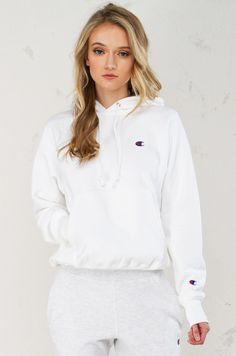 Front View Champion Pullover Hoodie in White