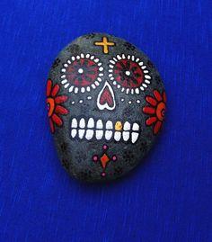 Sugar skull hand painted on beach stone red by BenDyerOriginalArt