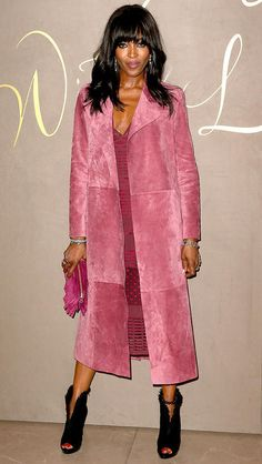 Naomi Campbell in a Burberry suede coat - click ahead of more winter outfit ideas