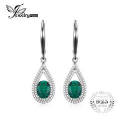 Sterling Silver 1.2ct Oval Created Emerald Dangle Earrings