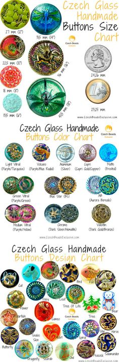 Czech Glass Handmade Buttons: History, Size, Scale, Color, Design And Style Charts || www.CzechBeadsExclusive.com
