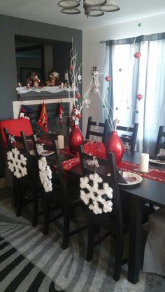 Snowflakes on dinning room chairs... Christmas