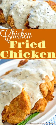 You know you're in the South when Chicken Fried Chicken with Peppered Milk Gravy shows up on the menu. Made with boneless chicken pieces it the provides the perfect foundation for a generous drizzle of rich peppered milk pan gravy. Country Fried Chicken, Chicken Fried Steak, Fried Chicken Recipes, Meat Recipes, Cooking Recipes, Recipes Dinner, Boneless Chicken, Game Recipes, Roasted Chicken