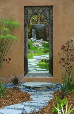 """Mix of rock, bark, ground cover, and plants""""  """"Framed beauty. And I like the bamboo water whateveryoucall it"""""""