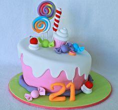 My 18 birthday cake! 18th Birthday Cake, Adult Birthday Cakes, Drip Cakes, Cute Cakes, Yummy Cakes, Fondant Cakes, Cupcake Cakes, Lollipop Cake, Lollipop Party