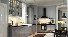 Ikea Kitchen Uk Meet Metod White And Gray With Ceiling Lights And White And Black Pendant Lamp Beautiful Also Wall Cabinets With Glass Doors And Exhaust Hood Black And Wooden Table With Black Chair 1355. IKEA Kitchens UK | Lidakuan.com