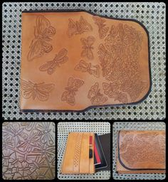 Moth design tablet case with pocket for notepad, pen, cellphone and business cards. Lined with kid skin. ZAR 2700