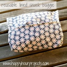 Reusable Lined Snack Baggies - So cute and really Eco-friendly! Imagine never buying Ziploc baggies ever again!