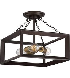 Quoizel Brook Hall 3 Light Semi-Flush Mount in Western Bronze BKH1714WT #lightingnewyork #lny #lighting
