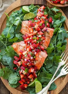 Grilled Salmon with Strawberry Jalapeño Salsa | 30 EASY recipes to make for this end-of-summer Holiday weekend | Labor Day Food Ideas