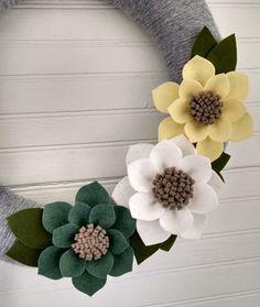 Spring wreath neutral wreath yarn wrapped wreath wool felt