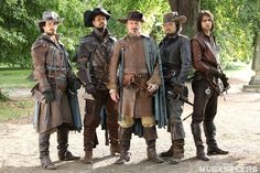 I love this photo! The Musketeers with the Captain! Santiago Cabrera, Howard Charles, Hugo Speer, Tom Burke and Luke Pasqualino! Bbc Musketeers, The Three Musketeers, Musketeer Costume, Howard Charles, Ella Enchanted, Luke Pasqualino, Tom Burke, Bbc Drama, Bbc Tv Series