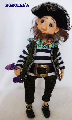 пират кукла полимерная глина Pirate doll polymer clay handmade