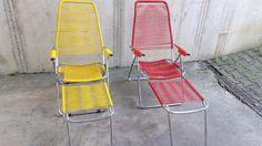 Vintage Balkonmöbel -  Liege * Campingliege * Retro / Spaghettiliege  - ein Designerstück von traumschlossgarten bei DaWanda