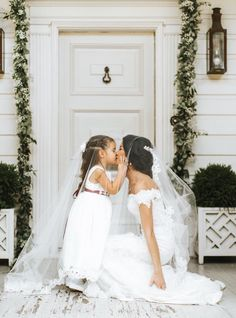 Real bride, maeme girl, Louisiana bride, Off the shoulder lace wedding dress, Bride with her flower girl, Wedding day photos, Flower girl dress, Southern bride, Justin Alexander wedding gown available at The Bridal Boutique by MaeMe in Louisiana, 504.266.2771, www.mae-me.com