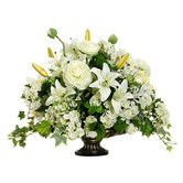"""Found it at Wayfair - 15"""" Ranunculus, Lily and Snowball Silk Floral Arrangement with Resin Urn"""