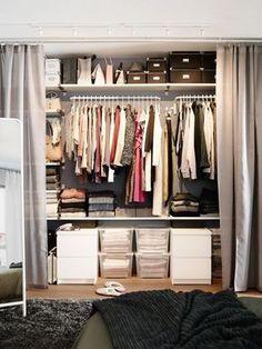 closet, inspirações de closet, closet pequeno, closet elegante, fashion, closets, closet com cortinas, DIY, como montar um closet, closet no quarto, ideias, organizar, organizando seu closet, Closet Storage, Bedroom Storage, Closet Organization, Organization Ideas, Storage Ideas, Storage Solutions, Closet Shelving, Ikea Storage, Smart Storage