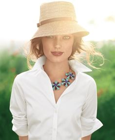 3052f9ff34b Easy Breezy Summer Style  Fedora and White shirt with statement necklace  from Banana Republic Lovett Marchini Reminds me of you.