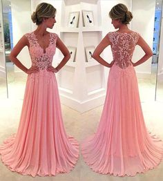 V-neck Pink Prom Dresses with Lace Appliques, Floral