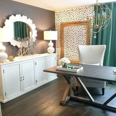 """Sharing a glimpse of my home office for this week's #YourHomeStyle hosted by the fabulous ladies @thisishappiness @simplestylingsblog @bethbarden @lifeonvirginiastreet. I'm still working on the other half of the room but can I just say how much I love the cheetah wall! My whole house may be speckled soon!"" Photo taken by @thehouseofsilverlining"