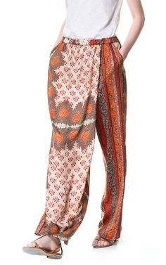 Image 2 of FLOWING PRINTED TROUSERS from Zara