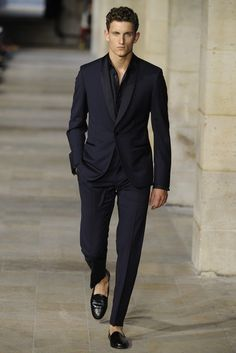 Shop this look for $239:  http://lookastic.com/men/looks/black-longsleeve-shirt-and-black-blazer-and-black-dress-pants-and-black-loafers/852  — Black Longsleeve Shirt  — Black Blazer  — Black Dress Pants  — Black Leather Loafers