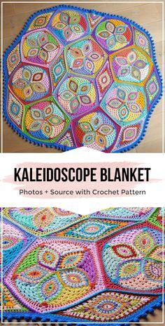 Crochet pattern KALEIDOSCOPE blanket - easy crochet baby-blanket pattern for beginners Motif Mandala Crochet, Mandala Blanket, Afghan Crochet Patterns, Easy Crochet Blanket, Crochet For Beginners Blanket, Manta Crochet, Crochet Baby, Unique Crochet, Auguste Rodin