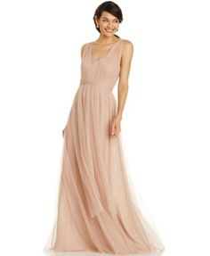 Bridesmaids: Adrianna Papell Pleated Strapless Tulle Gown in Mint. Love the idea of a convertible dress -  then everyone gets what they want.