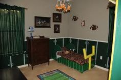 football themed boys bedroom -
