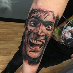 Ash from Evil Dead II by Ericksen Linn @ Good Fortune Tattoos in Albuquerque, NM