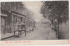 vintage postcard High Street Mortlake about 1867 Horse Car Postboy Richmond Surrey, Richmond London, Richmond Upon Thames, Old London, London Postcard, Buckingham Palace, Old Photos, Liverpool, Horses