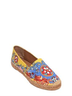DOLCE & GABBANA - CARRETTO BROCADE & LEATHER ESPADRILLES - LUISAVIAROMA - LUXURY SHOPPING WORLDWIDE SHIPPING - FLORENCE