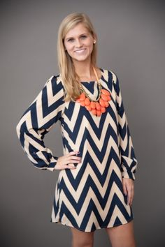 love the chevron dress with big necklace