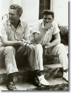 August 14, 1958  |  Vernon and son, Elvis mourning the loss of Gladys Presley.