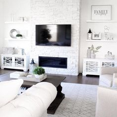 Don't have built-in shelves, but still obsessed with the look? created this luxe look with our Belham Living Florence TV Stands. Tap image to learn more details. Living Room Tv Wall, Living Room Tv, Family Room, Living Room With Fireplace, Living Room Designs, Decor Home Living Room, Room Design, Room Decor, Apartment Decor