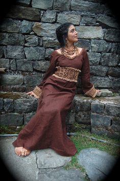 Priestess Long Dress with Long sleeves and Native American made of Brown Irish linen embroidery folk natural