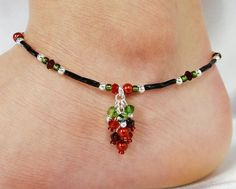 Anklet Ankle Bracelet Red Grape Cluster by ABeadApartJewelry Tatting Jewelry, Beaded Jewelry, Beaded Necklace, Beaded Bracelets, Ankle Jewelry, Ankle Bracelets, Beach Anklets, Ankle Chain, Cluster