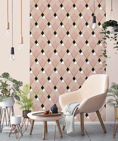le papier peint gris motif g om trique donne de l 39 int r t et de la profondeur au petit couloir. Black Bedroom Furniture Sets. Home Design Ideas