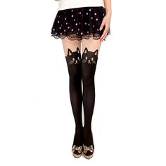CAT WITH TAIL SUSPENDER TIGHTS