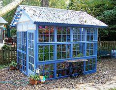Blått växthus med plasttak