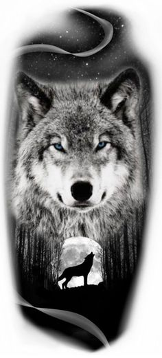 Wolf with moon tattoo idea - Tattoos Kurt Tattoo, Tattoo Bein, Lion Tattoo, Wolf Tattoo Forearm, Wolf Tattoo Sleeve, Sleeve Tattoos, Wolf Tattoo Tribal, Wolf Face Tattoo, Wolf Und Mond Tattoo